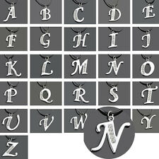 A-Z Initial Letter Alphabet Necklace Crystal Pendant Charm Leather Chain Choker