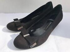 Women's 6M DANA BUCHMAN DARCY Black Heels w/ Bow Dress Casual Shoes Vegan Suede