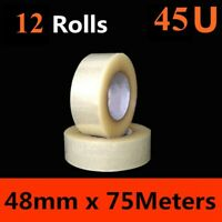 12 x HD Packing Tape Packaging Clear Sticky Sealing Tape 48mm 75M transparent