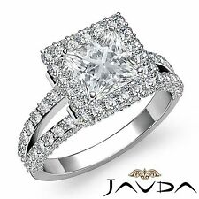 Split Shank Princess Diamond Halo Pave Engagement Ring GIA F VS2 Platinum 3.06ct