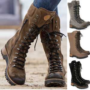 Women's Combat Military Mid Calf Boots Winter Warm Ladies Lace Up Booties Shoes