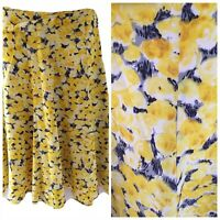 Hobbs Yellow Black Silk Skirt Size 8 Flower Floral Bright Occasion Wedding Guest