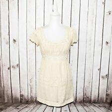 ANNA SUI Women's Crochet Knit Dress Deep Square Neck Beige Size 2