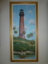 HOWARD SCHAFER Original Oil on Canvas Marine Painting Jupiter Inlet Lighthouse