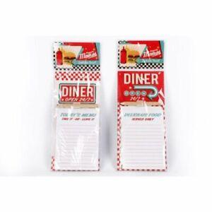 Retro Diner Open 24/7 Magnetic Memo Pad & Pencil Fridge Magnet Shopping List