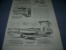 """1949 SUPERMARINE ATTACKER """"ROYAL NAVY'S NEW JET"""" 1-PAGE SALES AD..(334Y)"""
