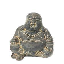 Glücksbuddha Buddha Figur ca. 20 cm Lavasand Stein-Gemisch - Deko Happy Skulptur