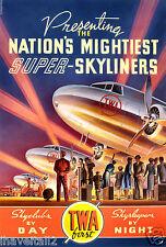 Vintage TWA Travel Poster Super Skyliners 1939 13 x 19 Giclee Print