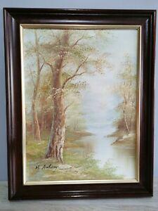 Oil Painting Landscape River  Signed in wooden Frame