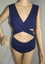 Womens Large EXPRESS NAVY BLUE CUTOUT CRISSCROSS BODYSUIT body suit L