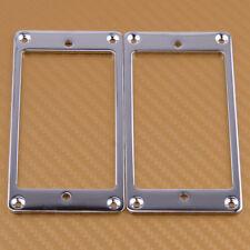 2x New Chrome Metal Flat Pickup Humbucker Mounting Frame Ring For General Guitar