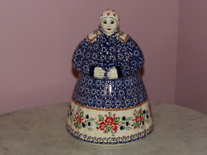 Polish Pottery Cookie Lady! UNIKAT Signature Exclusive Zoey Pattern!
