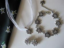 ♥Restposten! Trachtenschmuck SET Edelweiss Halskette Armband Ohrringe weiß NEU