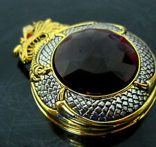Golden Chinese Dragon Jewel Gemstone Rare Mens Pocket Watch Special Design+Chain