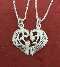 Mother Daughter Necklaces sterling silver Solid 925 charm pendants n chains Mum