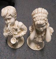 Vtg. Boy and Girl Statues 1971 Universal Statuary  U. Kendrick/Music to my ears.