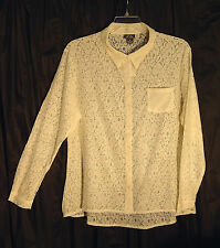 ALL OVER SOFT OPEN WEAVE LACE OFF-WHITE BUTTON FRONT TOP SHIRT BLOUSE~1X~0X~NEW