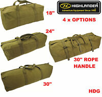 HIGHLANDER MILITARY HEAVY DUTY CANVAS TOOL BAG 18 24 30 + ROPE HANDLE ARMY FISH