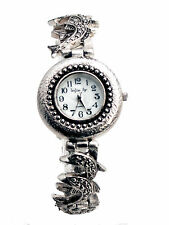 WOMEN'S ANTIQUE LOOK SILVER FINISH DOLPHIN LINKS ANALOG QUARTZ WATCH