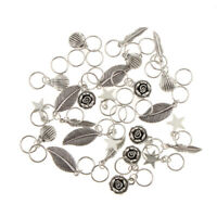 35pcs Mixed Flower Shell Feather Leaf Hair Ring Braid Rings Loops Hairband
