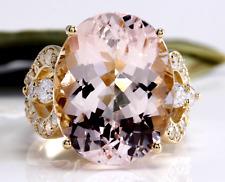 12.00 Quilates Natural Morganita y Diamante 14K Sólido Anillo Oro Amarillo