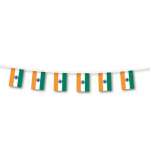 INDIA / INDIAN FLAG BUNTING LARGE 3 METRES PARTIES CELEBRATIONS
