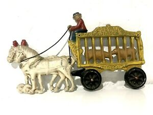 """ANTIQUE CAST IRON HORSE DRAWN ROYAL CIRCUS WAGON BEARS CAGE TOY DOORSTOP 10"""""""