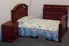 Dollhouse Miniature Mahog Double Bedroom Set B 1:12 in scale G63A Dollys Gallery