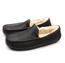 UGG Australia Ascot China Tea Leather Sheepskin Moccasin Slipper US 7 EEE WIDE