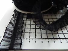 2m -Black, Decorative,Elastic Lace Trim with Frill for Lingerie,Baby Clothes 3cm