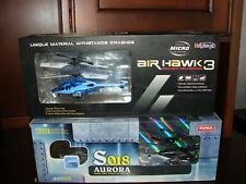 Set of 2 Remote Infrared Controlled Helicopter Haktoys Air Hawk 3 & Syma Aurora