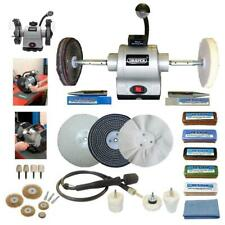 """Draper 6"""" 370W Bench Grinder Polisher With Pro-Max 6"""" Deluxe Metal Polishing Kit"""