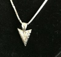 """Sterling Silver Arrowhead Pendant On 20"""" SS Box-Link Chain 925 Italy"""