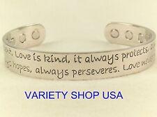 'Love' Silver Pure Copper Wide Religious Magnetic Therapy Cuff Bracelet