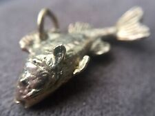 Vintage flying Salmon fish gold charm in 9ct gold English Hallmarks 2.6grams