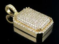 1.39 CT Round Sim Diamond Men's Dome Pendant Necklace in 14k Yellow Gold Plated