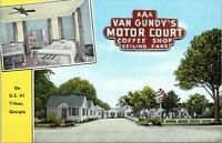 Tifton Georgia Van Gundys Motor Court Roadside Motel 1940s Linen Postcard US 41