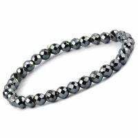 Natural Hematite Bracelet Crystal Faceted Beads 6mm Gemstone Reiki Healing Stone