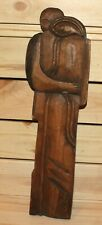 Vintage abstract hand carving wood wall hanging plaque cubist figures