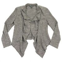 St. John Women's Open Front Draped Cardigan Sweater Brown/Gray Knit • Size 8