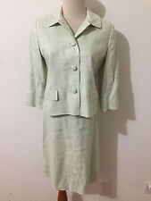 Ann Taylor LOFT Petites Skirt Suit Sea Foam Linen Blend Size 4P Blazer/2P Skirt