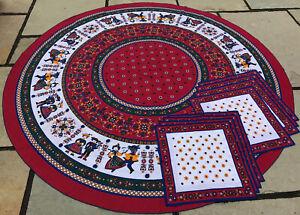 Vintage Portugal Round Tablecloth & Place Mats 9 Piece Linen Set