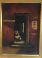 Unusual Antique 19th Century Oil Painting Dog Tenement Building Signed Bagley ?