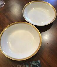 """2 Antique GOA France White/Gold Rimmed  7 1/2"""" Dish Soup Salad Cereal Bowls"""