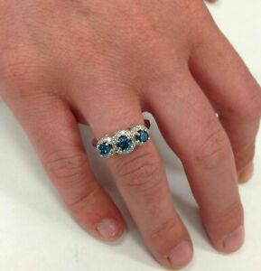 2.00 ct Pave Halo Blue Diamond 3-Stone 14K White Gold Over Engagement Ring
