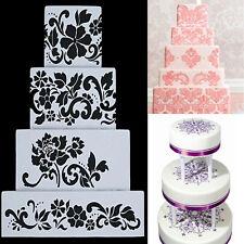 4Pcs DIY Cake Mold Fondant Side Reusable Baking Stencils Bakery Wedding Decor CN