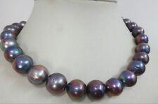 """HUGE 18""""12-15MM NATURAL SOUTH SEA GENUINE BLACK PEACOCK MULTIC PEARL NECKLACE"""
