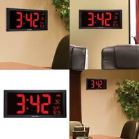 18 in. large led clock with indoor temperature | digital wall acurite date jumbo