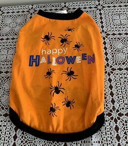 Thrills Chills Collection Dog Halloween Tee Shirt Happy Halloween LARGE Orange
