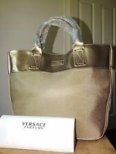 Versace Parfums large gold tote/handbag new with dust bag